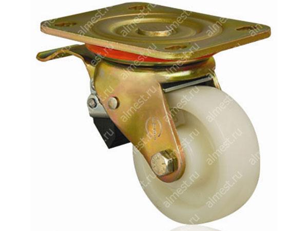 Колесо большегрузное нейлоновое поворотное с тормозом ED01 HBZ F 100*35