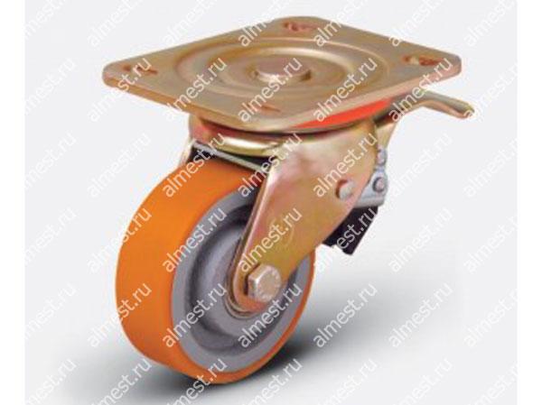 Колесо большегрузное поворотное с тормозом ED01 VBP F 125*40