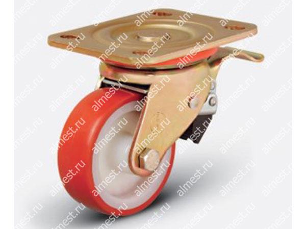 Колесо большегрузное поворотное с тормозом ED01 ZBP F 100*35