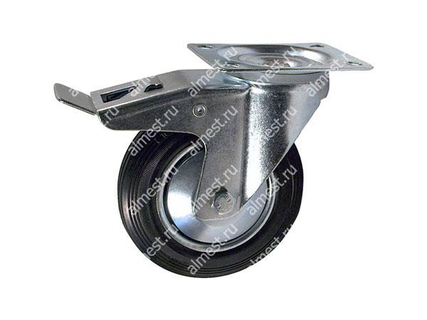 Колесо промышленное поворотное с тормозом SCB80