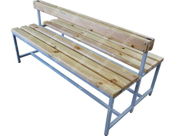 Скамейка для раздевалок AMM-1008 со спинкой двусторонняя